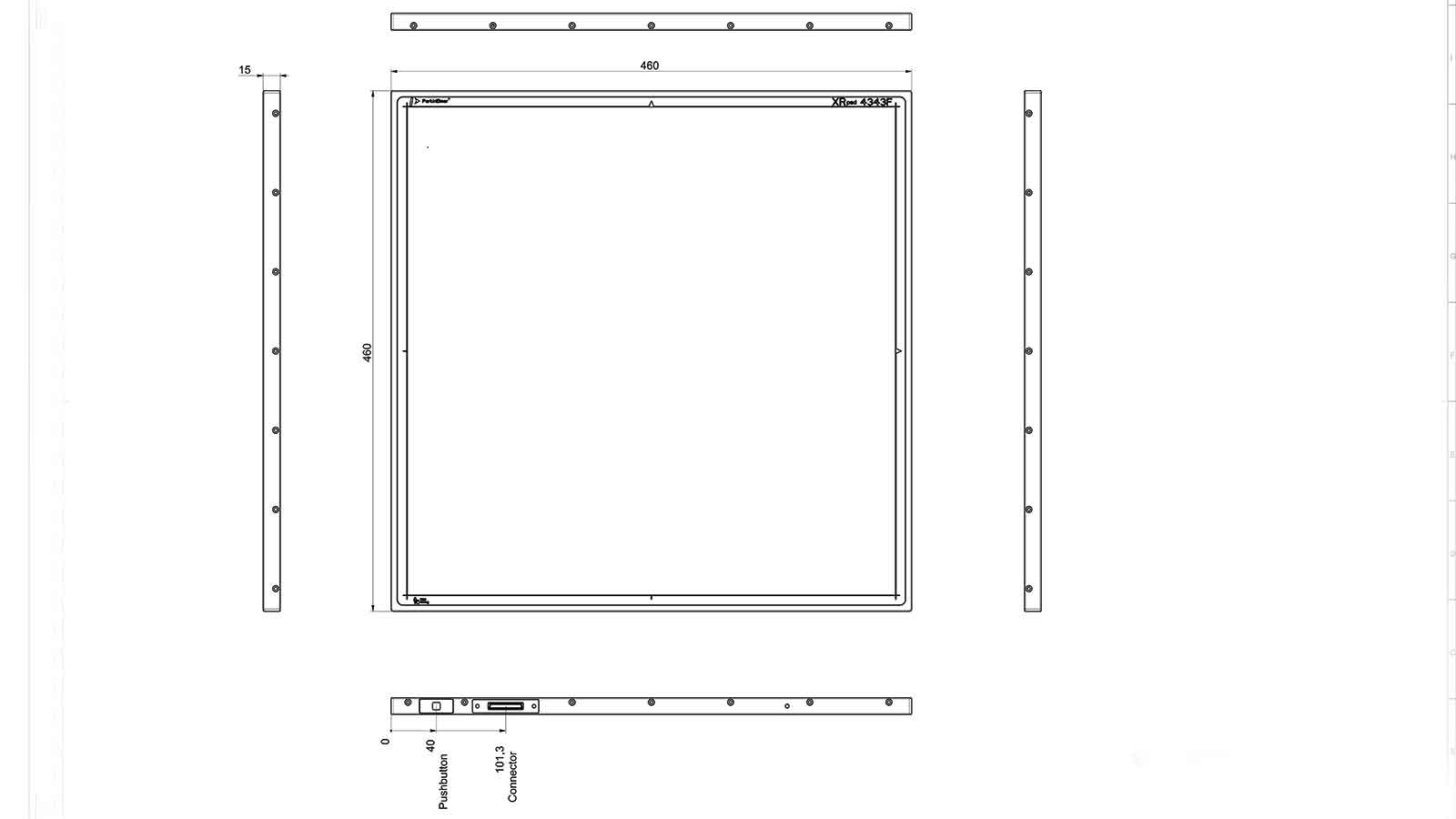 Mechanical Drawing of the XRpad 4343F wireless flat panel X-ray detector